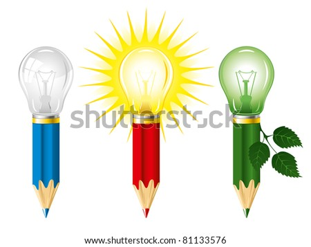 Set of pencils and light bulbs, concept of idea