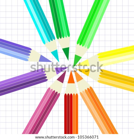 Set of Pencils, Rainbow Colors, Sun Formation, Paper Background, Vector Version - stock vector