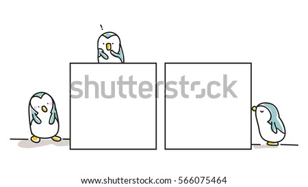 set of penguins with board