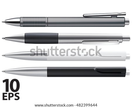 Set of Pens Isolated on White. 3D vector illustration