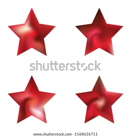 Set of pentagram modern backgrounds. Cool style of 90th, 80th. Trendy soft color illustration. Red fluid colorful gradient shapes for your mobile app and screens.
