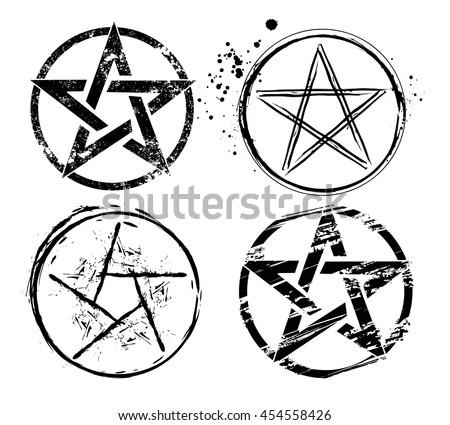 set of pentagrams painted in