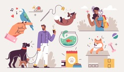 Set of People and their pets illustrations. Men and women having fun, training and playing with their pets. Vector Illustrations