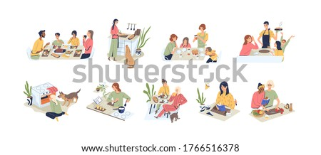 Set of people at kitchen vector flat illustration. Collection of families, couple, man and woman at cuisine. Diverse person cooking, eating food, talking and reading book isolated on white background