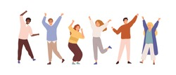 Set of people celebrating win or goal achievement. Happy team or group of friends with hands up isolated on white background. Concept of victory and success. Vector illustration in flat cartoon style