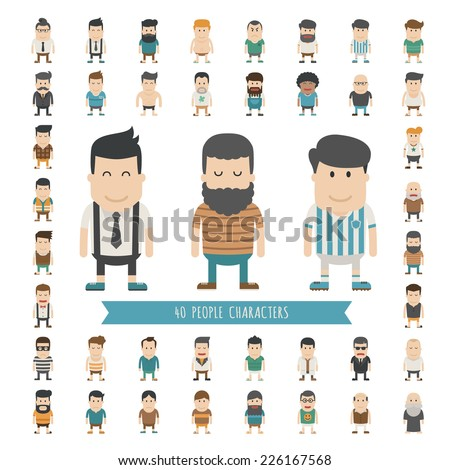 Set of 40 people characters , eps10 vector format