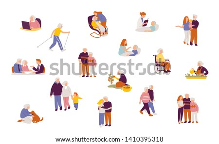 Set of people characters in different poses. Set with senior people and their's families and relatives. Retirement planning.