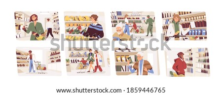 Set of people choosing food in grocery shop. Men and women buying products in supermarket. Characters standing near store shelves with shopping carts and baskets. Flat vector illustration on white