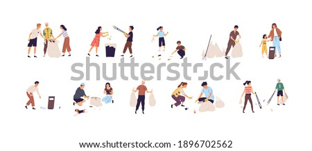 Set of people collecting garbage into bags and throwing rubbish into trash can. Children and adults cleaning nature by picking up litter. Colored flat vector illustration isolated on white background Сток-фото ©