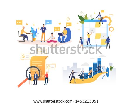 Set of people cooperating for business. Group of men and women working on profit markup. Business concept. Vector illustration can be used for presentation slide, new project, commercial #1453213061