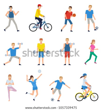 Set of people doing various sports. Man and woman riding bike, playing football, basketball, valleyball, running and showing other actions. Flat design vector illustration