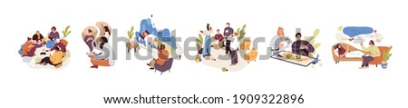 Set of people during mental therapy sessions with psychotherapists or psychologists practicing different psychotherapy approaches. Flat cartoon vector graphic illustration isolated on white background Сток-фото ©