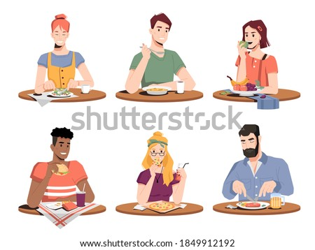Set of people eating different food isolated. Vector man and woman, main courses and snacks, coffee and juice drinks. Lunchtime, fastfood snacks at home or at restaurant, grilled meat and beer