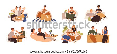 Set of people eating food at home, cafe and outdoors. Men and women relaxing and enjoying delivered meals, fastfood, pizza, cake. Colored flat graphic vector illustration isolated on white background