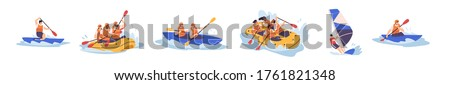 Set of people enjoy active water sports vector illustration. Collection of extreme man and woman rafting, kayaking, canoeing and sailing isolated. Diverse person in protective helmet and vest