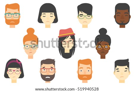set of people expressing facial