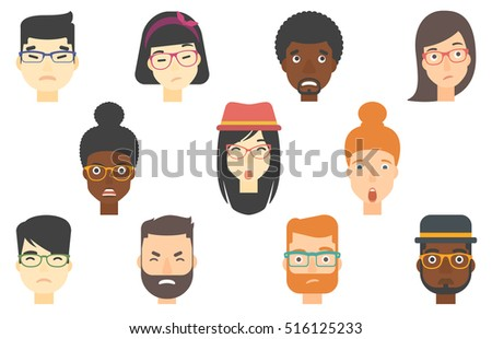 Set of people expressing facial emotions. Set of depressed human faces. People in depression. Human faces expressing depression. Set of vector flat design illustrations isolated on white background.