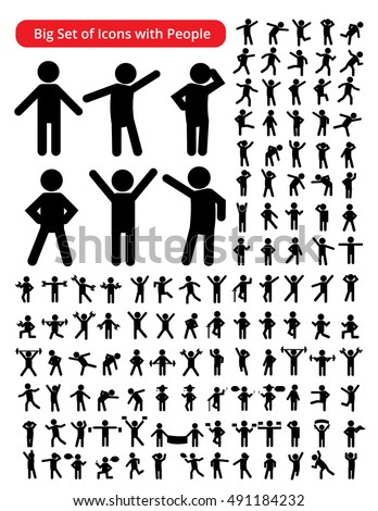Set of people Figure Pictogram Icons. Action. Person Stick. Stick Figures. Icons of people. Vector illustration. Poses of people.