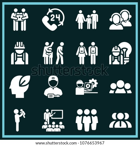 Set of 16 people filled icons such as classroom, teamwork, family, industry worker with cap protection and a laptop, employees, brainstorming, 24 hours, call service, engineer #1076653967