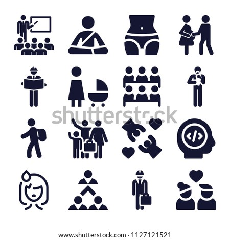 Set of 16 people filled icons such as engineer, classroom, teamwork, discussion, couple, love, student, stroller, holidays, pregnant couple, meditation, backpacker, waist