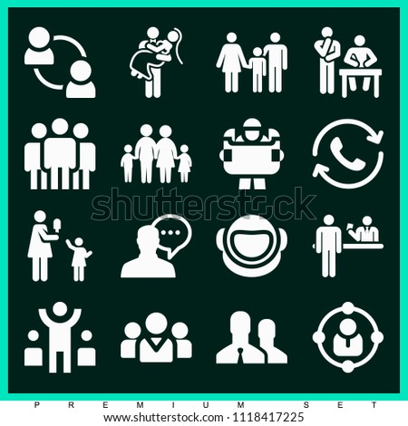 Set of 16 people filled icons such as family, support, male silhouette talking, mother, teamwork, team, brainstorming, leader, engineering, user, newlyweds, astronaut, info #1118417225