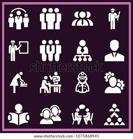 Set of 16 people filled icons such as group, study, businessman, employees, recruit, talking, admin with cogwheels, brainstorming, teamwork, discussion, call service, manager #1075868945