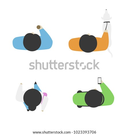Set of people from above, top view. Simple style. Flat design vector illustration. Staying and walking different men and women. Man with a dog and a cup of coffee in his hand. Phone in the hand.