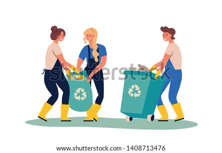 Set of people gathering garbage and plastic waste for recycling. Service recycling. Recycle sort organic garbage in different container for separation to reduce environment pollution