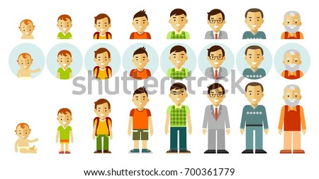 Set of people generations at different ages. Man aging - baby, child, teenager, young, adult, old. Full length and avatars. Vector illustration in flat style isolated on white background. ストックフォト ©