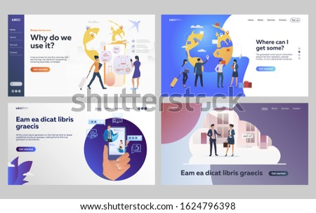 Set of people going on business trip. Flat vector illustrations of specialists recommending applications. International business, recommendation concept for banner, website design or landing web page