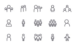 Set of People, Group, Team vector icon illustration