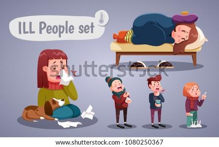Set of people having cold, cartoon style vector illustration Stockfoto ©