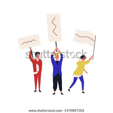 Set of people holding placards or flags isolated on white background. Teenage boys taking part in social protest, mass meeting, civil resistance, picketing, march. Flat cartoon vector illustration.