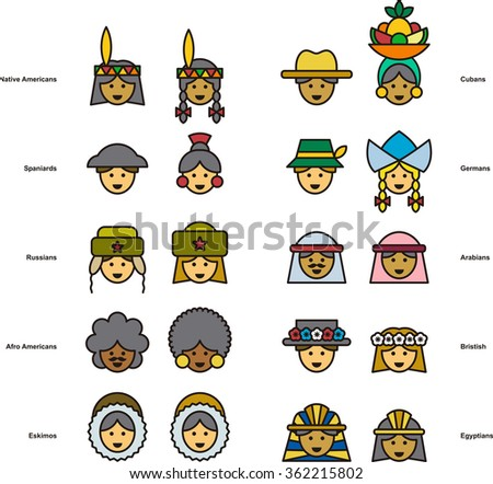 set of people icons from all
