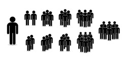 Set of people icons in flat style. Crowd. Group of people - icon. Company or team person