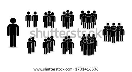 Set of people icons in flat style. Crowd. Group of people - icon. Company or team person ストックフォト ©