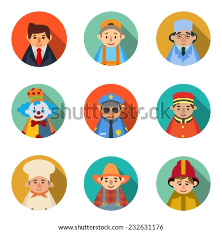 set of 9 people icons in flat style vector profession character. businessman, mechanic, doctor, clown, policeman, doorman, chef, farmer, fireman
