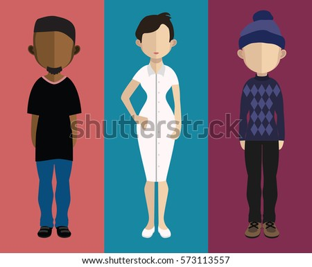 Set of people icons in flat style. Vector women, men character