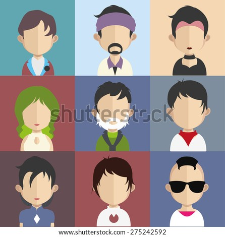 Set of people icons in flat style with faces. Vector women, men character