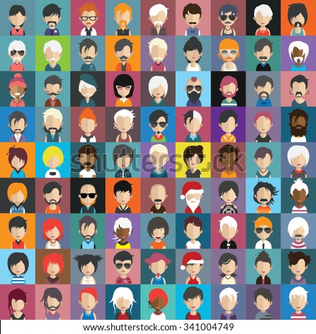 Set of people icons in flat style with faces. Vector women, men character Set 32 a