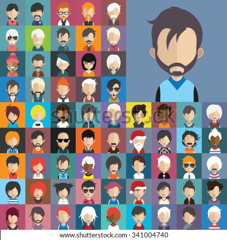 Set of people icons in flat style with faces. Vector women, men character Set 32 b