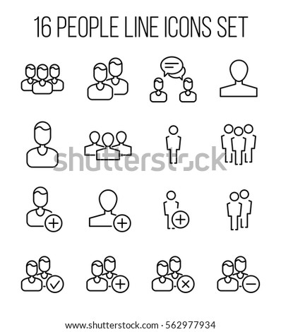 Set of people icons in modern thin line style. High quality black outline human symbols for web site design and mobile apps. Simple people pictograms on a white background.