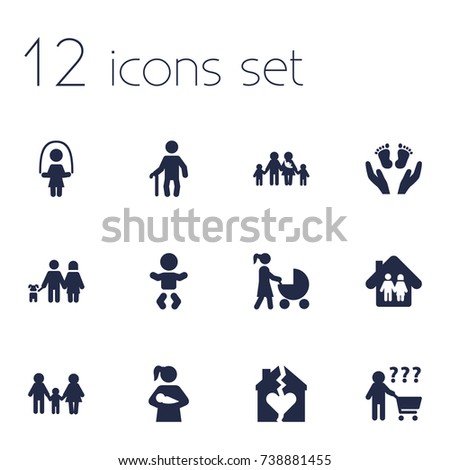 set of 12 people icons set