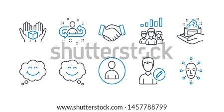 Set of People icons, such as Avatar, Employees handshake, Smile, Smile chat, Edit person, Skin care, Recruitment, Hold box, Teamwork results, Face biometrics line icons. Line avatar icon. Vector