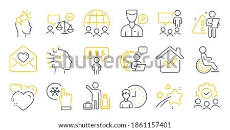 Set of People icons, such as Love letter, Valet servant, Brand ambassador symbols. Disability, Artificial intelligence, Global business signs. People chatting, Freezing click, Teamwork. Vector
