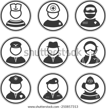 set of people icons with