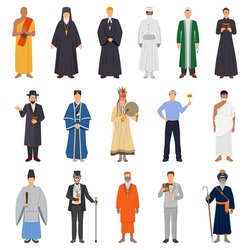 Set of people in traditional costume from world religions including islam, catholicism, orthodoxy, buddhism isolated vector illustration