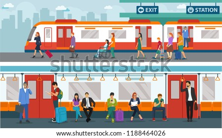 set of people in train station