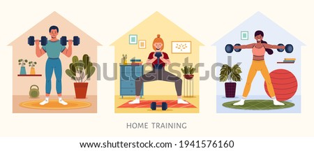Set of people lifting dumbbell weights indoors. Home gym workout concept, flat style illustration. Stock photo ©