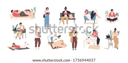 Set of people literature fans with books vector flat illustration. Collection of reading man and woman, students preparing to exam isolated on white background. Person book lovers and readers